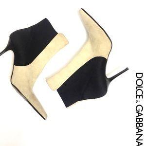 Dolce and Gabbana Beige & Black Suede Booties -9